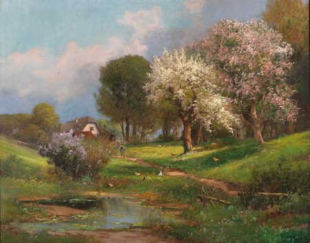 Alois Arnegger spring landscape, oil on canvas