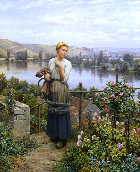 Daniel Ridgway Knight figure in landscape