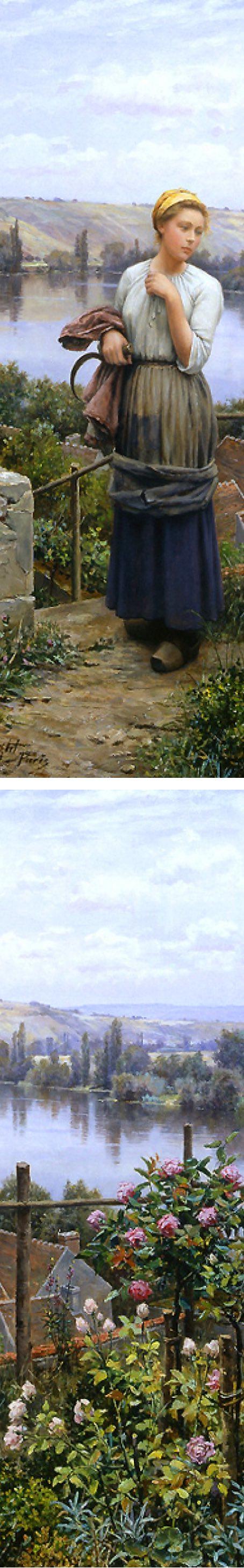 Daniel Ridgway Knight figure in landscape (details)