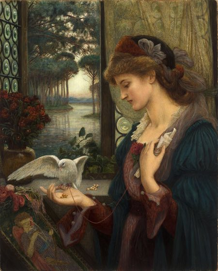 Love's Messenger, Marie Spartali Stillman, watercolor and tempera