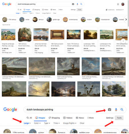 Google image search interface