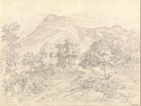 Heinrich Reinhold pencil landscape drawing: A View of Civitella from the Serpentara next to Olevano
