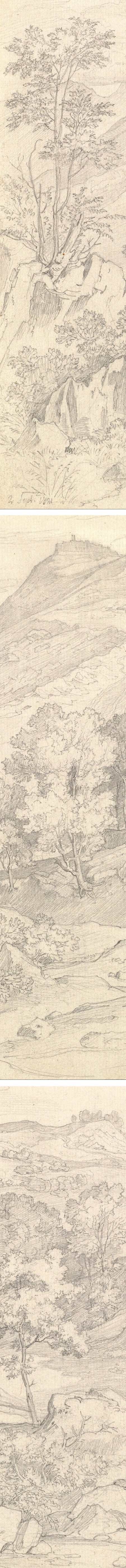 Heinrich Reinhold pencil landscape drawing: A View of Civitella from the Serpentara next to Olevano (details)