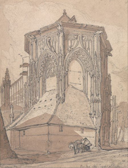East End of Saint Jacques at Dieppe, Normandy; John Sell Cotman; graphite and brown wash