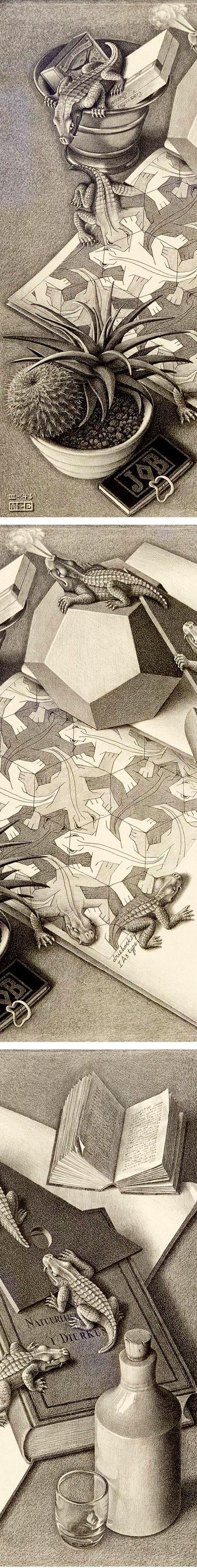 M.C. Escher, Reptiles, lithograph (details)