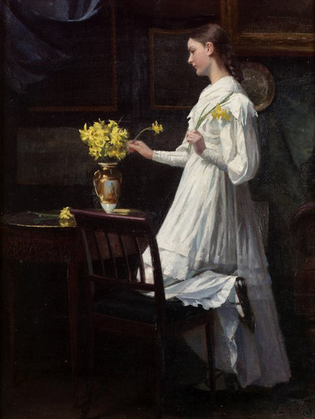 Arranging Daffodils, Carl Thomsen, oil on canvas