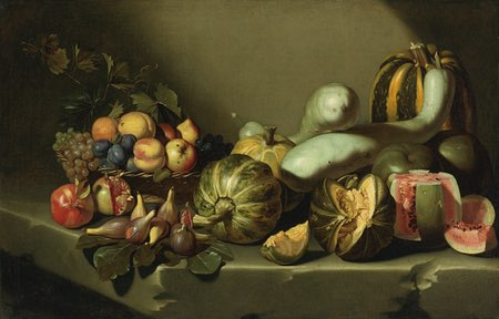 Still Life with Fruit on a Stone Ledge from the Roman School, once attributed to Caravaggio