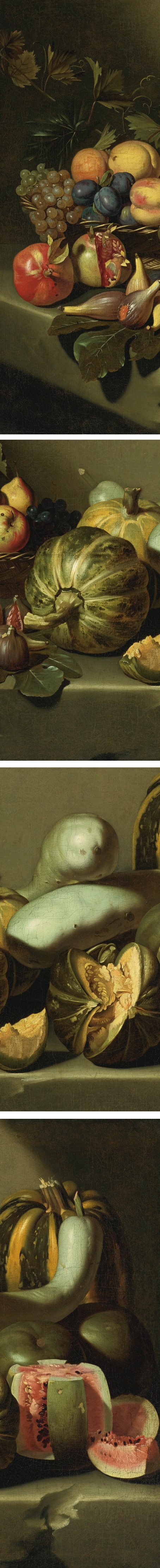 Still Life with Fruit on a Stone Ledge from the Roman School, once attributed to Caravaggio (details)