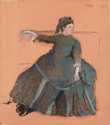 Woman on a Sofa, Edgar Degas, oil with touches of pastel ofer pencil