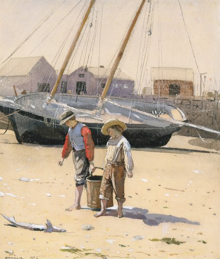 A Basket of Clams, Winslow Homer, watercolor and gouache