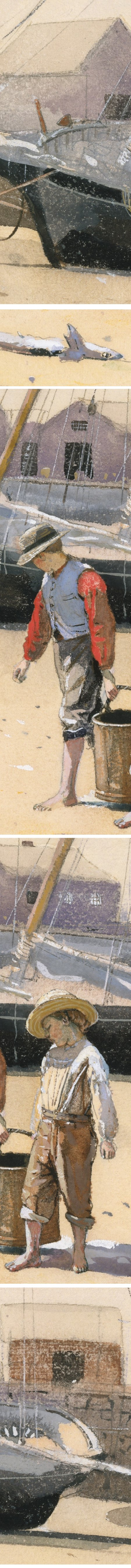A Basket of Clams, Winslow Homer, watercolor and gouache (details)