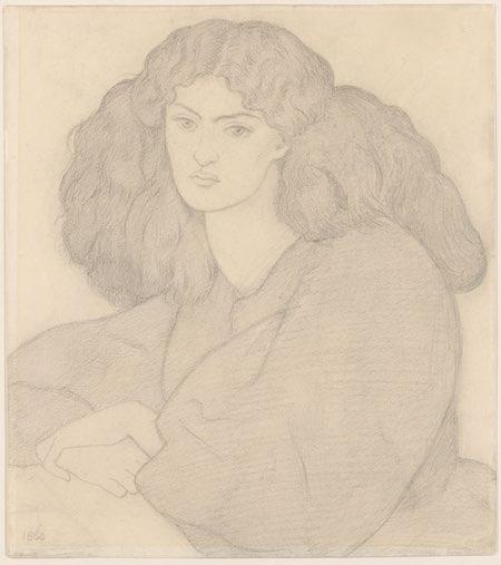 Portrait of Mrs. William Morris, née Jane Burden, Dante Gabriel Rossetti, graphite on paper