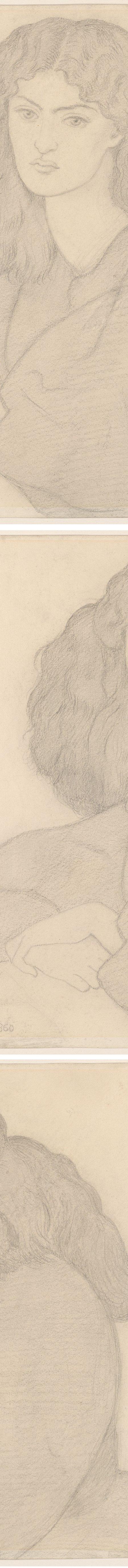 Portrait of Mrs. William Morris, née Jane Burden, Dante Gabriel Rossetti, graphite on paper (details)