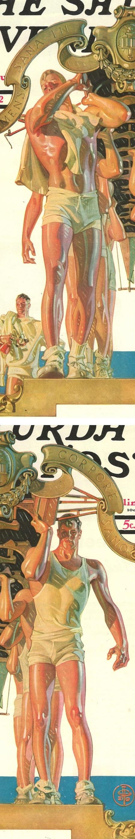 Rowers, SEP cover, J.C. Leyendecker (detail)