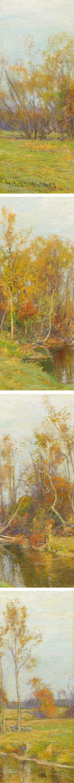 Autumn Trees along a Stream by Hugh Bolton Jones (details)